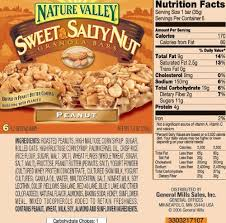 Granola Bar Food Label