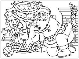 Santa Put Gift Under The Christmas Tree Coloring Page