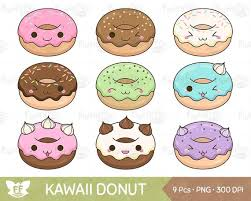 Kawaii Donut Clipart Doughnut Clip Art Snack Sweets Cute