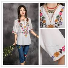 New 2013 Free Shipping Vintage 70s Mexican Ethnic Floral Embroidery Hippie Blouse T Shirt Women Clothing