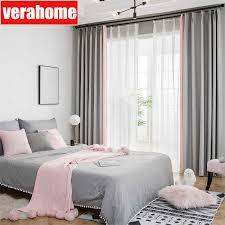nordic splice blackout rosa grau stoff vorhänge für prinzessin mädchen wohnzimmer schlafzimmer windows behandlung drapieren panel