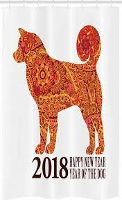 abakuhaus duschvorhang badezimmer deko set aus stoff mit haken breite 120 cm höhe 180 cm jahr des hundes neujahr kaufen otto