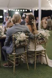 Boho Chic Beach Wedding Couple At Sweetheart Table With Gold Chiavari Chairs