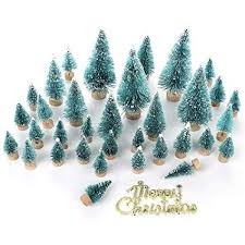 Asodomo 34Pcs Mini Sisal Snow Frost Trees Bottle Brush Christmas Tree Small Pine Home