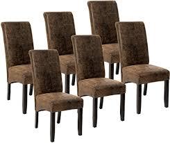 tectake 6er set esszimmerstuhl kunstleder stuhl mit hoher rückenlehne ergonomische form stuhlbeine aus hartholz massiv 106 cm hoch diverse farben
