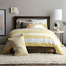 Yellow Striped Duvet Grey Walls Master Or Guest Bedroom Ideas