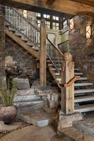Rustic Light Fixtures Staircase With Newel Post Open Risers