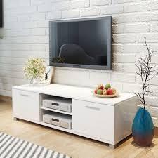 schlafzimmer wohnzimmer tv schrank hochglanz weiß mit 4 kabelausgänge 2 regale 2 fächer mit türen 120x40 3x34 7 cm