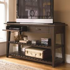 Narrow Sofa Table With Drawers by Maximizing Small Living Room Spaces With Brown Wood Flat Screen Tv
