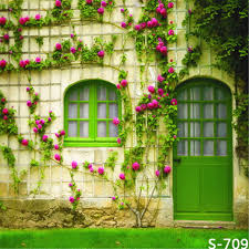 Vintage Green Leaves Red Flowers Wood Door Photography Backdrops Natural Screen Retro Wall Photo Background