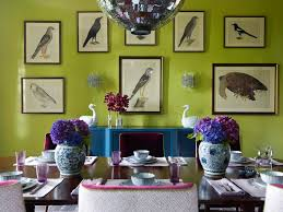 Game Room Color Ideas Dining Contemporary With Floral Arrangement Green Walls