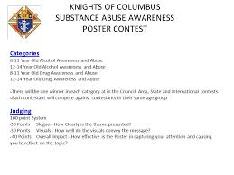 KNIGHTS OF COLUMBUS SUBSTANCE ABUSE AWARENESS POSTER CONTEST Categories 8 11 Year Old Alcohol Awareness