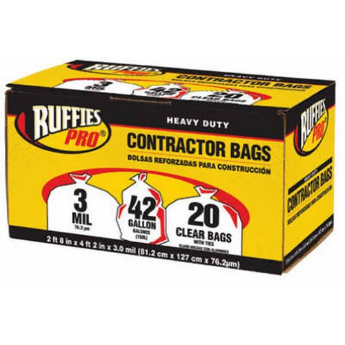 Berry Plastics Ruffies Pro Contractor Bags - 20 Clear Bags