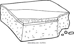 Single outlined hand drawn slice of cake with missing bite Stock Image