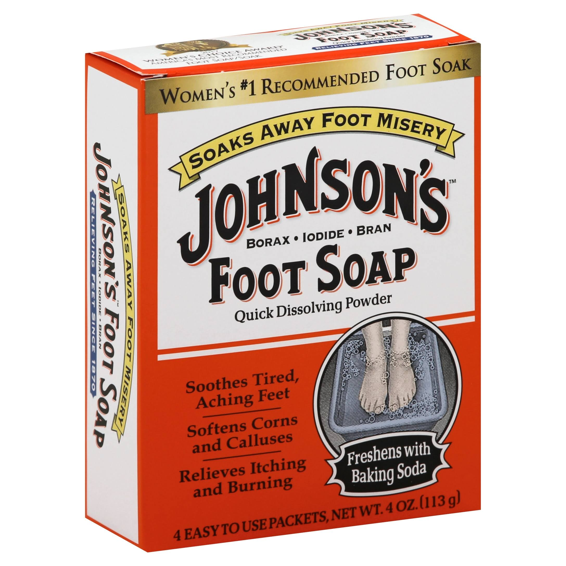 Johnson's Foot Soap Quick Dissolving Powder - 4ct, 4oz