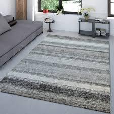kurzflor teppich gestreift anthrazit beige wohnzimmer