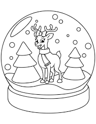 Click To See Printable Version Of Christmas Snow Globe With Reindeer Coloring Page
