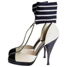 chanel t strap ankle cuff pumps dark navy blue champagne patent