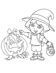 Dora The Explorer Halloween Coloring Page