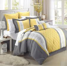 Pretty Flowers Decor In Gray And Yellow Bedroom With Double Bed Then
