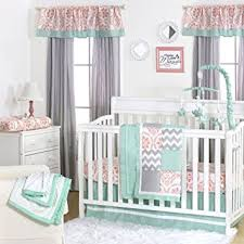 amazon com mint coral and grey patchwork 4 piece baby crib