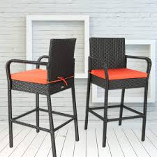 Leaptime Outdoor Rattan Chair Patio Rattan Bar Stool Set Garden Furniture  Black Wicker Bar Chair With Orange Cushions Set Of 2 Lotta Ding Chair Black Set Of 2 Source Contract Chloe Alinum Wicker Lilo Chairblack Rattan Chairs Uk Design Ideas Nairobi Woven Side Or Natural Flight Stream Pe Outdoor Modern Hampton Bay Mix And Match Brown Stackable