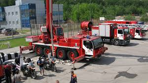 100 Fire Trucks Unlimited Trucks Fire Engine With Crane And Motorcycles Stand Stock