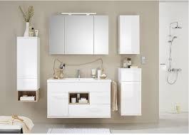 badezimmermöbel badmöbel set 4 teilige weiß hochglanz led beleuchtung montiert
