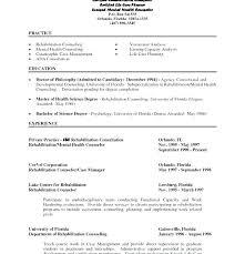 Resume Examplesmental Health Therapist And Sample Mental Counselor Download Free For