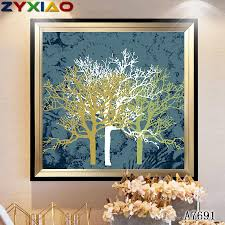 100 Pop Art Home Decor 2019 ZYXIAO Large Size Oil Painting Landscape White Gold Tree On Canvas Modern Wall No Frame Print Poster Picture A7691 From