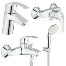 details zu grohe eurosmart bad set 4tlg wannen dusch brause waschtisch armatur chrom