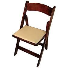 Classic Series 30.5''H Wood Folding Chair - Fruitwood - Tan Vinyl Seat Pad