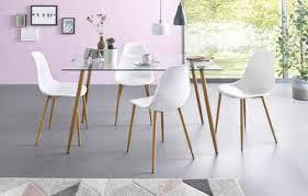 my home essgruppe miller set 5 tlg eckiger glastisch mit 4 stühlen kunststoffschale
