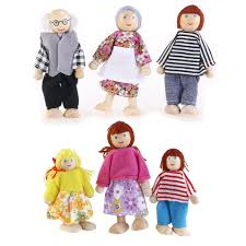 ROSENICE 6pcs Wooden Puppet Toys Cartoon Family Dolls For Children