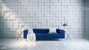 moderne und vintage inneneinrichtung des wohnzimmers blauen sofa auf weißer bodenbelag und weißen holzplatte wand quadrat zufällige wand 3drendering