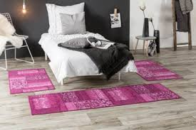 bettumrandung teppich kurzflor vintage modern lila grau