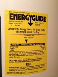Energyguide Label On Water Heater Tank