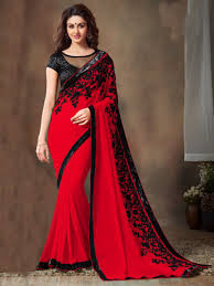 sarees online red u0026 black color embroidered designer saree blouse