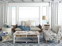 Beach Style Living Room Furniture With Coastal Pillows And Decor