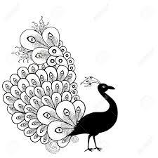 Cartoon Peacock Black Clipart