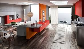 Kitchen Red And Yellow Decor With Modern Cabinet Awesome Wooden Tile Flooring
