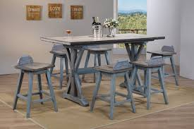 Kris 7 Piece Counter Height Dining Set, Distressed Gray & Washed ... Hanover Traditions 5piece Alinum Outdoor Ding Set With Swivel Chairs With Casters A R T Valencia Castered Chair In Indoor Chromcraft Kitchen Revington Table Amazoncom Morocco Square And Four On Wheels Tvdesignorg Astounding Value City Fniture Room Cool Haddie 8 Cancupinfo Mesmerizing Cheap Dinette Sets Immaculate Lowes Sling Covers Six Patio Cushion Tilt Coaster Mitchelloak 5 Piece 3in1 Game Alkar Billiards