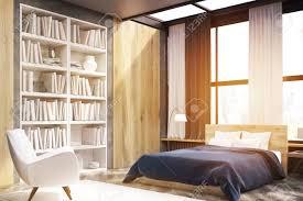 ecke schlafzimmer schlafzimmer mit fenster und holzwand elemente großes bücherregal befindet sich in der nähe eines weißen sessels 3d rendering
