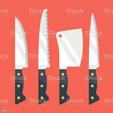 Kitchen Knive Set Kitchen Knives Set Flat Design Vector Illustration Stock Vektor Und Mehr Bilder Ausrüstung Und Geräte