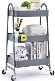 kingrack rollwagen mit 3 ebenen mit großem stauraum und metallrollen für büro küche schlafzimmer badezimmer