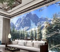 schöne bergwald schnee papel de parede 3d wandbild tapete wohnzimmer schlafzimmer hintergrund wand