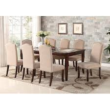 Rowena 9 Piece Cherry Wood Contemporary Rectangular Formal Dinette Dining Room Table 8 Side Upholstered