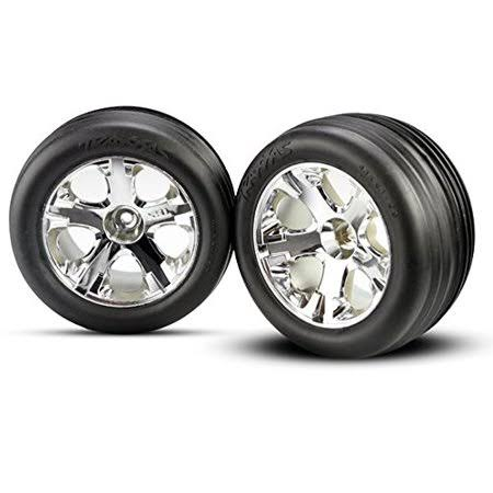 "Traxxas 3771 Front Alias Ribbed Tires Pre-Glued All-Star Wheels - 2.8"", Chrome"