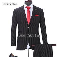 2018 Latest Designs Formal Men Suit Set Slim Fit Mens Suits Fashion Printed Striped Groom Wedding Prom Tuxedo Wool Blend Jacket Pants Trends