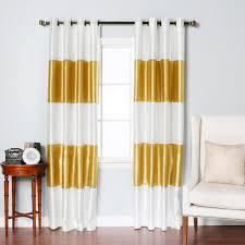 Burgundy Grommet Blackout Curtains by Gold Striped Dupioni Faux Silk Grommet Top Blackout Curtain 1 Pair